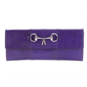 Gucci Violet Purple Karung Horsebit Clutch